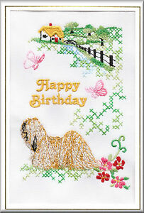 Bichon Frise Birthday Card Embroidered by Dogmania FREE PERSONALISATION