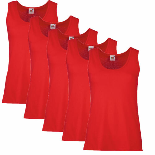 5 Pack Women/'s Fruit Of The Loom Lady-Fit Value-weight Vest Tank top Sleeveless