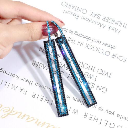 Long Geometric Drop Dangle Earrings Rhinestone Ear Studs Women Gift JewelryETP