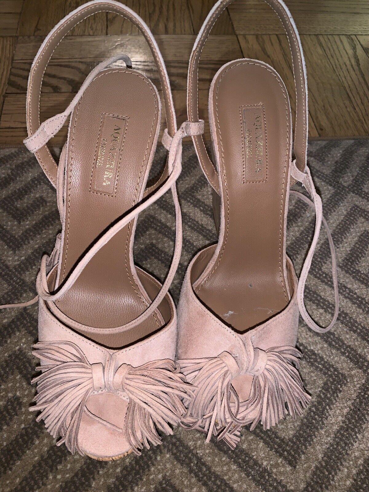 Aquazzura 'Wild One' Light Pink Suede Cork Wedges w Tassels Sandals shoes 37
