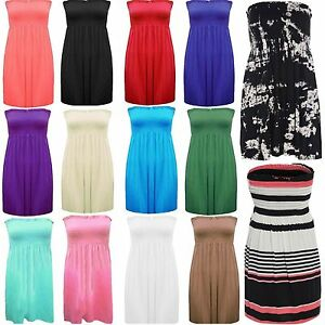 Womens-Ladies-Plus-Size-Sheering-Boobtube-Bandeau-Strapless-Top-Vest-Dress-8-22