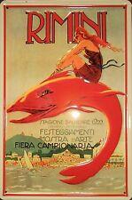 Rimini 1922 Blech Schild 20x30cm Italien Meer Reklame Werbung Stagione Balneare