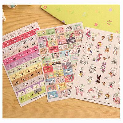6 Sheets Rabbit Diary Book Sticker Scrapbook Calendar Notebook Label Cute