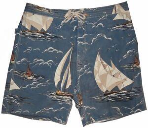 RARE-RALPH-LAUREN-POLO-OCEAN-SAIL-BOATS-SWIM-BEACH-POOL-SHORTS-TRUNKS-XXL-38-40