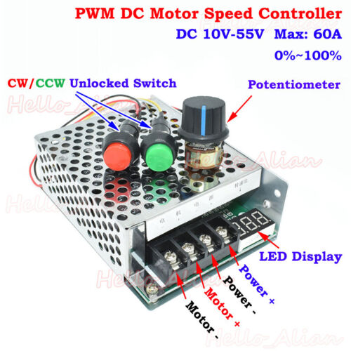 60A DC 10-55V 12V 18V 24V PWM DC Motor Speed Controller CW CCW Reversible Switch