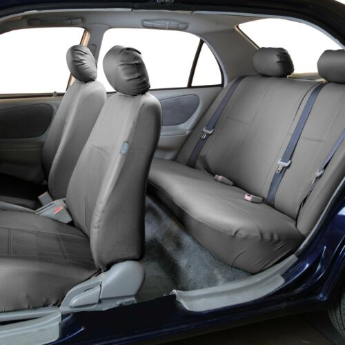 PU Leather Seat Covers for Car SUV Van Full Universal Solid Gray w// Dash Mat