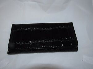 WOMEN-039-S-GLOSSY-TRI-FOLD-FAUX-CROC-LEATHER-ORGANIZER-CLUTCH-CHECKBOOK-WALLET
