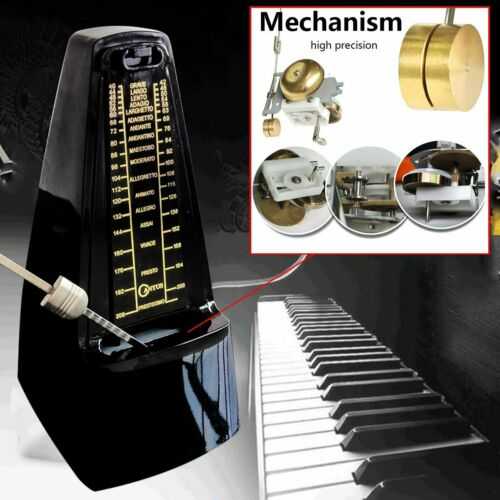 Mechanical Metronome Loud Sound Piano Drum Bass Violin Guitar Wood Grained Black