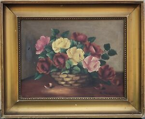 Impressionist-Flower-Still-Life-with-Roses-And-Wicker-Oil-Painting-Um-1900