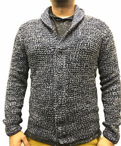 Mens-UK-Branded-Navy-Ombre-Knitted-Shawl-Chunky-Button-Cardigan-Jumper