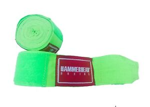 """NEON GREEN 180/"""" ELASTIC HAND WRAPS Meister MMA Cotton Boxing Wraps Mexican PAIR"""