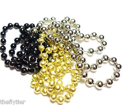 Bead Chain Eyes medium silver