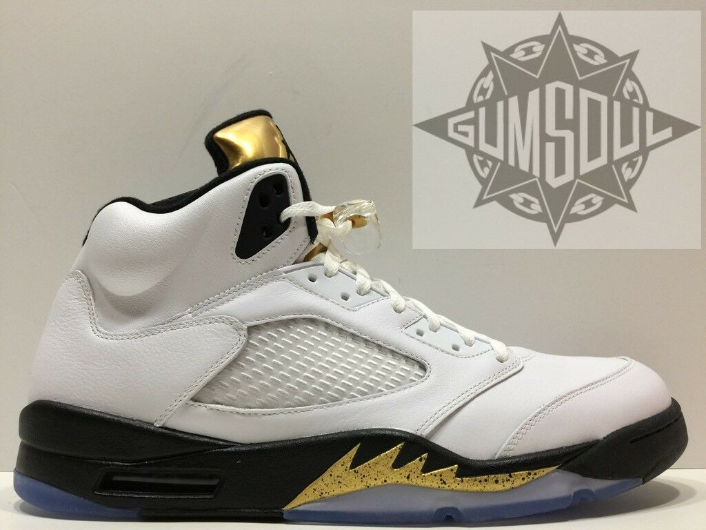 NIKE AIR JORDAN 5 RETRO OLYMPIC gold BLACK WHITE 136027 133 sz 18