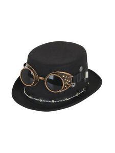 discount various design attractive price Details about Steampunk Chapeau Haut De Forme Noir avec Googles et  Engrenages Chaîne