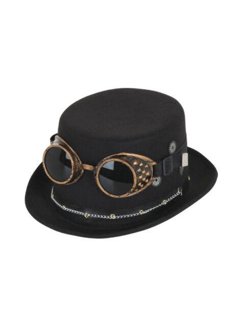 Steampunk Sombrero de Copa Negro con Gafas y Gears Cadena Alternativa Festival