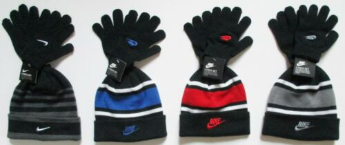 Nike Boys Youth Kids Beanie Hat Gloves 2 Pc Set~Striped Black+Grey or Black+Red
