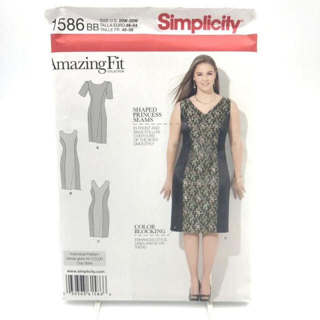 Simplicity 1586 Womens Plus Size Dress w Princess Seams Sz 20W 28W Uncut Pattern