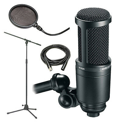Audio-Technica AT2020 Recording Condenser Mic w/ Stand, Cable & Filter