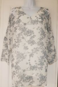 Womens-Phase-Eight-3-4-Sleeve-White-Grey-Bird-Print-Blouse-Top-With-Vest-8