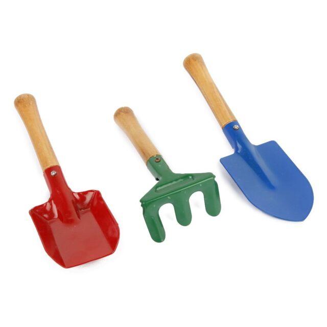 HE 3Pcs Outdoor Garden Tools Set Rake Shovel Playset Kids