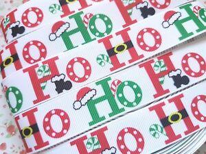 1 M X Ho Ho Ho Noël Ruban Imprimé Grosgrain Craft Bow Gâteau 22 Mm * Uk *-afficher Le Titre D'origine