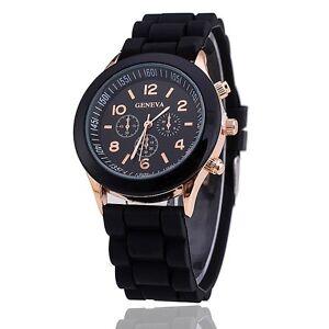Vintage Geneva Chronograph Dial Design Black Strap Wrist Watch for Girls Women