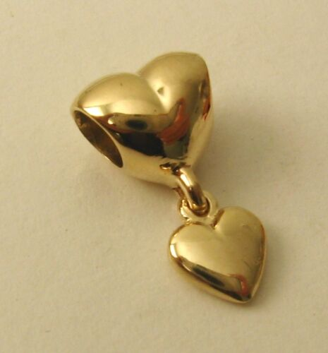 GENUINE SOLID 9K 9ct YELLOW GOLD CHARM HEART BEAD with 3D LOVE HEART DROP