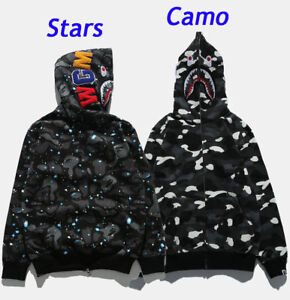 BAPE MEN S A BATHING APE SPACE CAMO SHARK HOODIE FULL ZIP Sweater ... 0e74a67f58