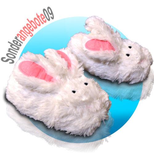 Tier Hausschuhe Hase Plüsch Pantoffel Flauschig Kaninchen Kinder Tierschuh Weiß