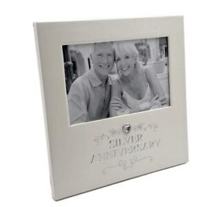 25th Silver Wedding Anniversary Photo Frame Raised Jewel 280162