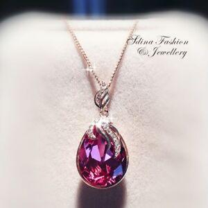 18K-Rose-Gold-Filled-Made-With-Swarovski-Crystal-Dark-Pink-Teardrop-Necklace