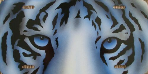 One of a Kind!! Awesome White Tiger Airbrushed License Plate! USA Made!