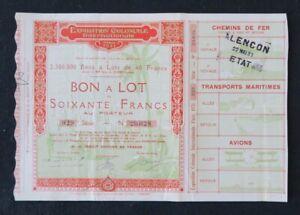Action EXPOSITION COLONIALE INTERNATIONALE PARIS 1931 titre bond share 2