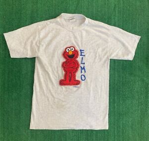 33e4f432d Vintage Sesame Street Elmo Shirt Size M Embroided Furry Elmo Made In ...