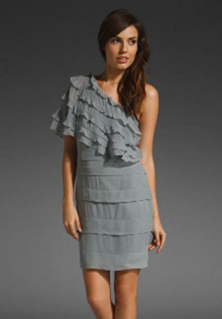 Tracy Reese Penelope Greige Silk Ruffled Cocktail Dress Größe 4 NWT