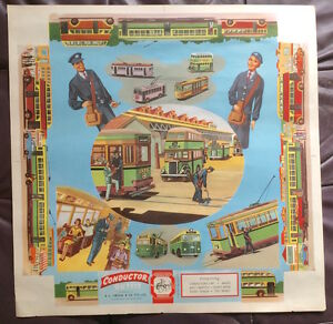 1950S-AUSTRALIAN-BUS-amp-TRAM-CONDUCTOR-STONE-LITHOGRAPH-ART-POSTER-LINDSAYS-NM