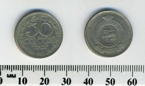 Crowned arms Ceylon 1963-50 Cents Copper-Nickel Coin