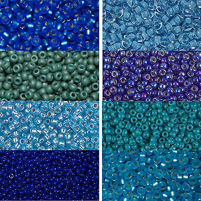 9,9 Gramm Miyuki Rocailles 8//0 rund 3 mm blau hellblau türkis ca petrol
