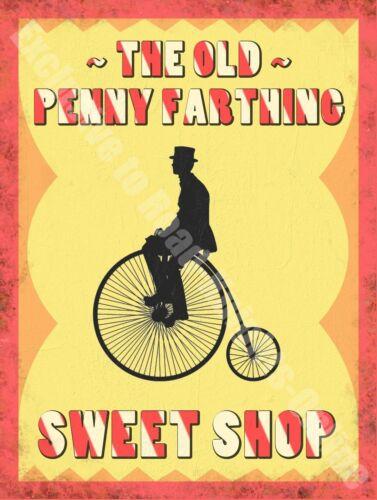 Old Penny Farthing Sweet Shop Vintage Retro Food /& Drink Medium Metal Tin Sign