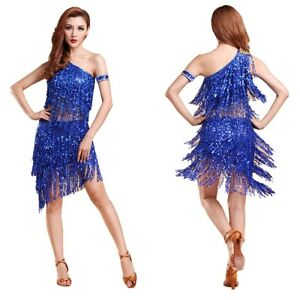 Women-Strap-Dancewear-Sequin-Tassel-Square-Latin-Rumba-Ballroom-Dance-Dress