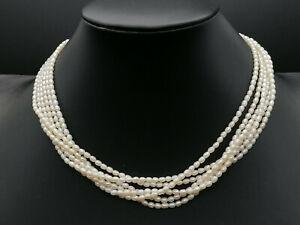 collana torchon perle di fiume naturali e argento 925 multifilo FATTO IN ITALIA