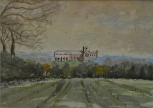 20th-Century-Watercolour-St-Albans-Cathedral-View-by-Peter-Branchflower