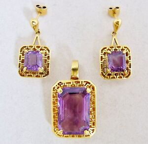 Image Is Loading 22k Yellow Gold Earrings Amp Pendant Set With