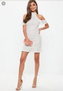 421eb14062e2 White lace high neck flippy hem dress size 6 by Missguided | eBay