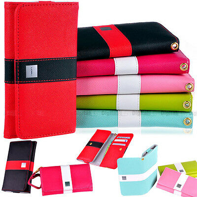 LOVE Colorful Premium Leather Wallet Case Cover For HTC ONE XL & X + Screen Flim
