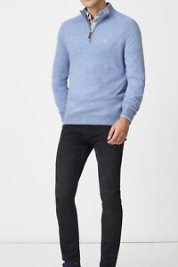 New Crew Clothing Mens Lambswool 1//2 Zip Jumper in Blue