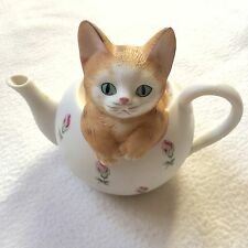 Vintage Mann Porcelain Music Box Cat in Tea Pot