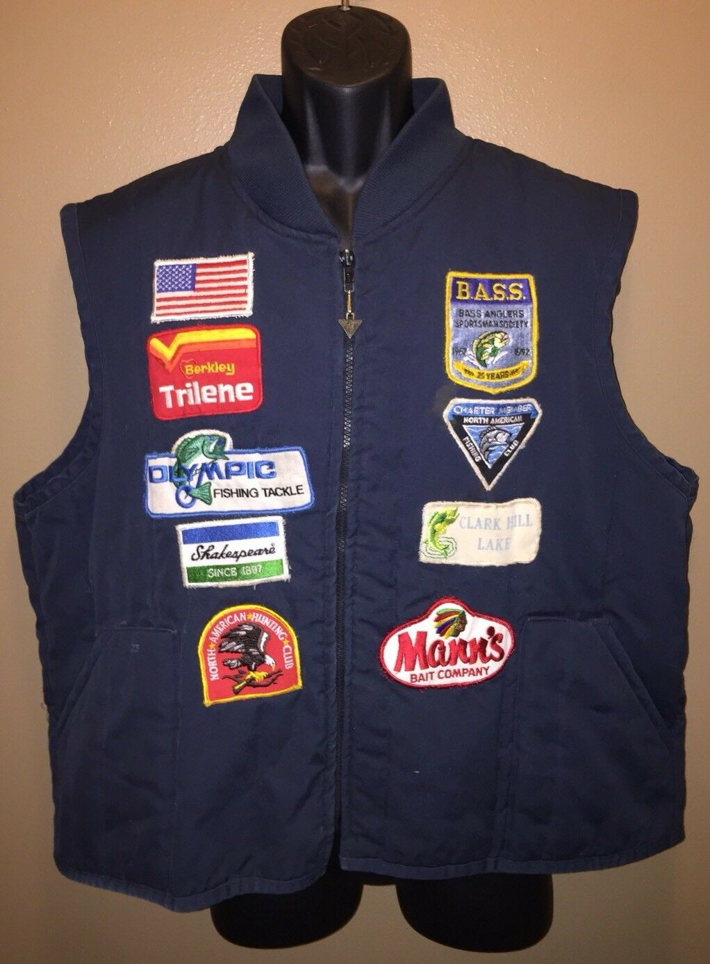 Vintage NORTH AMERICAN FISHING CLUB Vest 9 PATCHES BASS Mann Olympic Trilene XXL