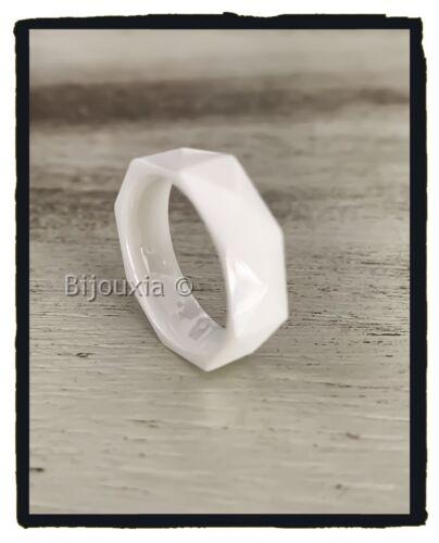 Bague Alliance Facettée Céramique BLANC  Bijoux Tailles 50-52-54-56-58-60
