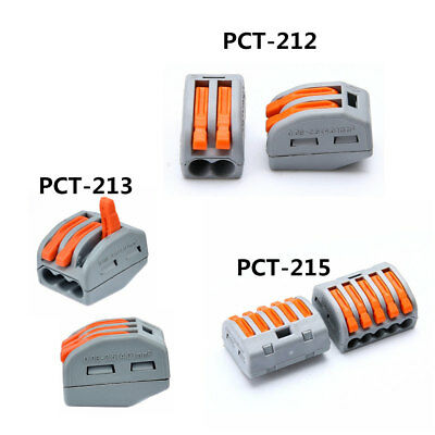 10pcs Spring Lever Terminal Block Electric Cable Wire Connector PCT212//213 Clip